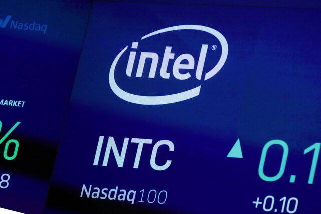 FILE - In this Oct. 1, 2019, file photo the symbol for Intel appears on a screen at the Nasdaq MarketSite, in New York. Intel said Monday, Dec. 16, that it has bought Israeli artificial intelligence startup Habana Labs for $2 billion. (AP Photo/Richard Drew, File)