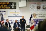 Democratic presidential candidate former Vice President Joe Biden speaks during a fund-raising fish fry for U.S. Rep. Abby Finkenauer, D-Iowa, Saturday, Nov. 2, 2019, at Hawkeye Downs Expo Center in Cedar Rapids, Iowa. (AP Photo/Charlie Neibergall)