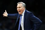 Houston Rockets coach Mike D'Antoni reacts to a call during the first half of the team's NBA basketball game against the Boston Celtics in Boston, Saturday, Feb. 29, 2020. (AP Photo/Michael Dwyer)