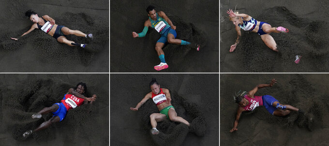 Jumpers, from top left, Darya Reznichenko, of Uzbekistan, Almir Dos Santos, of Brazil, Darya Klishina, of the Russian Olympic Committee, Maykel Masso, of Cuba, Anasztazia Nguyen, of Hungary, and Juvaughn Harrison, of United States, compete at the 2020 Summer Olympics in Tokyo. (AP Photos/Morry Gash)