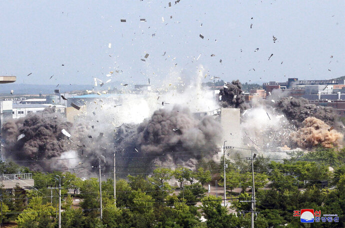 This photo provided by the North Korean government shows the demolition of an inter-Korean liaison office building in Kaesong, North Korea, Tuesday, June 16, 2020. South Korea says that North Korea has exploded the inter-Korean liaison office building just north of the tense Korean border. Independent journalists were not given access to cover the event depicted in this image distributed by the North Korean government. The content of this image is as provided and cannot be independently verified. (Korean Central News Agency/Korea News Service via AP)