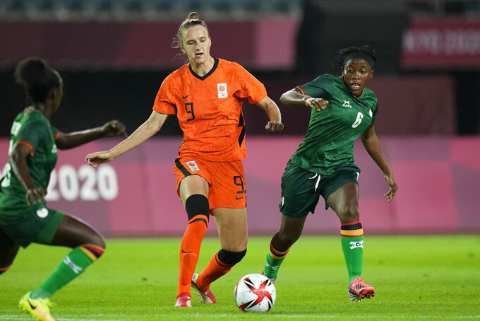 Netherlands' Vivianne Miedema dribbles the ball against Zambia during a women's soccer match at the 2020 Summer Olympics, Wednesday, July 21, 2021, in Rifu, Japan. (AP Photo/Andre Penner)