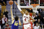 South Dakota State's David Wingett (50) has his shot blocked by Indiana's Trayce Jackson-Davis (4) during the first half of an NCAA college basketball game, Saturday, Nov. 30, 2019, in Bloomington, Ind. (AP Photo/Darron Cummings)