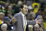 Baylor head coach Scott Drew question a call against TCU in the second half of an NCAA college basketball game, Saturday, Feb. 1, 2020, in Waco, Texas. Baylor won 68-52. (AP Photo/Rod Aydelotte)