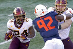 Minnesota running back Mohamed Ibrahim carries the ball during the first half of an NCAA college football game against Illinois Saturday, Nov. 7, 2020, in Champaign, Ill. (AP Photo/Charles Rex Arbogast)