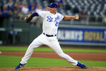 Kansas City Royals starting pitcher Mike Montgomery delivers to a Detroit Tigers batter during the first inning of a baseball game at Kauffman Stadium in Kansas City, Mo., Tuesday, Sept. 3, 2019. (AP Photo/Orlin Wagner)