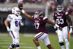 Mississippi State defensive end Aaron Odom (17) celebrates recovering a Louisiana Tech fumble during the first half of an NCAA college football game in Starkville, Miss., Saturday, Sept. 4, 2021. (AP Photo/Rogelio V. Solis)