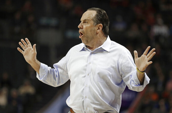 Notre Dame head coach Mike Brey reacts to a call during the first half of an NCAA college basketball game against Louisville in the Atlantic Coast Conference tournament in Charlotte, N.C., Wednesday, March 13, 2019. (AP Photo/Nell Redmond)