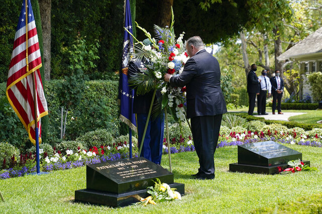 Secretary of State Mike Pompeo lays a wreath at the Richard Nixon Presidential Library, Thursday, July 23, 2020, in Yorba Linda, Calif. (AP Photo/Ashley Landis, Pool)