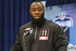Oklahoma defensive lineman Neville Gallimore speaks during a press conference at the NFL football scouting combine in Indianapolis, Thursday, Feb. 27, 2020. (AP Photo/AJ Mast)