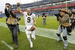 New Orleans Saints quarterback Drew Brees leaves the field after the Saints beat the Tennessee Titans in an NFL football game Sunday, Dec. 22, 2019, in Nashville, Tenn. The Saints won 38-28. (AP Photo/Mark Zaleski)