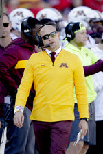 Minnesota head coach P. J. Fleck follows the first half of an NCAA college football game against Nebraska in Lincoln, Neb., Saturday, Oct. 20, 2018. (AP Photo/Nati Harnik)