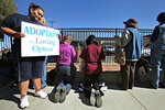 FILE - In this Friday, Jan. 20, 2012 file photo, Norma Castillo, left, holds a sign as other anti-abortion demonstrators kneel and pray facing the Midland Planned Parenthood clinic to mark the 39th anniversary of Roe vs. Wade in Midland, Texas. Planned Parenthood, which closed abortion clinics in Lubbock and Midland in 2013, hopes to re-establish its presence in the region. (Heather Leiphart/Odessa American via AP)