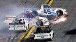 Ty Majeski (45), Austin Wayne Self (22), Brennan Poole, front left, and Todd Gilliland, front right, wreck early in the NASCAR Truck Series auto race at Daytona International Speedway, Friday, Feb. 14, 2020, in Daytona Beach, Fla. (AP Photo/David Graham)