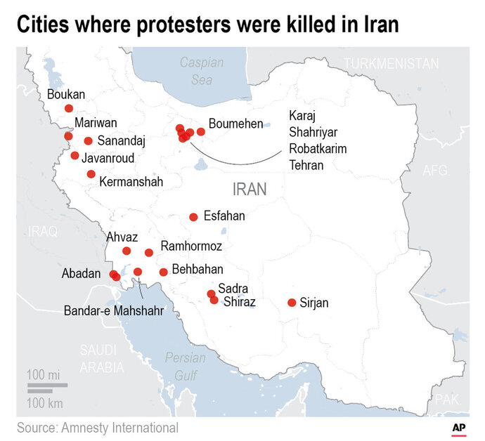 A breakdown, by city and province, of the protest-related deaths reported by Amnesty International.;
