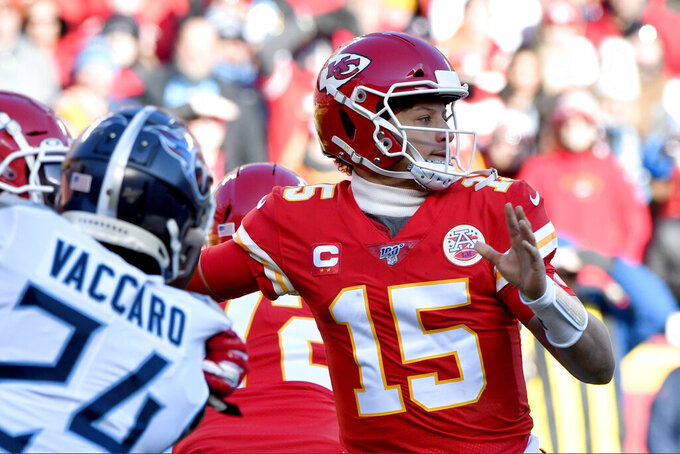 Kansas City Chiefs' Patrick Mahomes throws during the first half of the NFL AFC Championship football game against the Tennessee Titans Sunday, Jan. 19, 2020, in Kansas City, MO. (AP Photo/Ed Zurga)