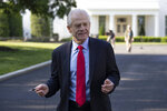 White House trade adviser Peter Navarro walks to do a television interview at the White House, Friday, May 15, 2020, in Washington. (AP Photo/Alex Brandon)