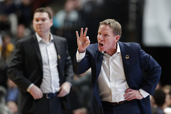 Gonzaga coach Mark Few yells during the first half the team's NCAA men's college basketball tournament West Region semifinal against Florida State on Thursday, March 28, 2019, in Anaheim, Calif. (AP Photo/Jae C. Hong)