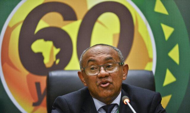 ARCHIVO - En esta foto del 16 de marzo de 2017, el presidente de la Confederación Africana de fútbol, Ahmad Ahmad, durante una rueda de prensa en Addis Ababa, Etiopía. (AP Foto/File)