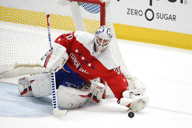 FILE - In this Feb. 23, 2020, file photo, Washington Capitals goaltender Braden Holtby (70) reaches for the puck during the third period of an NHL hockey game against the Pittsburgh Penguins in Washington. The Vancouver Canucks signed Holtby to an $8.6 million, two-year deal after letting Jacob Markstrom leave in free agency. (AP Photo/Nick Wass, File)