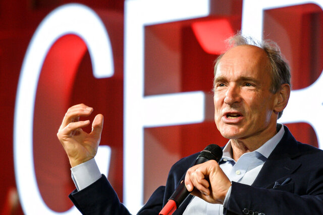 "FILE - In this March 12, 2019, file photo, English computer scientist Tim Berners-Lee, best known as the inventor of the World Wide Web, delivers a speech during an event at the CERN in Meyrin near Geneva, Switzerland, marking 30 years of World Wide Web. Berners-Lee said Thursday, June 11, 2020 the COVID-19 pandemic demonstrates ""the gross inequality"" of a world where almost half the population is unable to connect, telling a high-level U.N. meeting ""our number one focus must be to close the digital divide."" (Fabrice Coffrini/Pool, Keystone via AP, File)"
