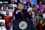 President Donald Trump speaks during a campaign rally at Middle Georgia Regional Airport, Friday, Oct. 16, 2020, in Macon, Ga. (AP Photo/John Bazemore)