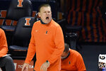 Illinois head coach Brad Underwood reacts from the sideline in the first half of an NCAA college basketball game against Purdue, Saturday, Jan. 2, 2021, in Champaign, Ill. (AP Photo/Holly Hart)
