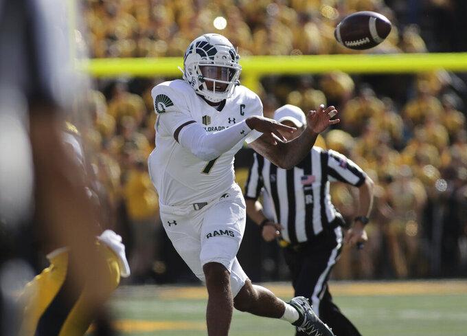 Colorado State quarterback Todd Centeio (7) passes the ball during the first half of an NCAA college football game against Iowa, Saturday, Sept. 25, 2021, in Iowa City, Iowa. (AP Photo/Ron Johnson)
