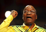 FILE - In this Dec. 16 2017, file photo South African President Jacob Zuma, addresses delegates at the African National Congress (ANC) elective conference in Johannesburg. Leaders of the ANC party are struggling to remove Zuma from office amid reports he asked for concessions in exchange for his resignation. The ANC says it will announce the results of a marathon meeting of its national executive committee later on Tuesday Feb, 13, 2018. (AP Photo/Themba Hadebe, File)