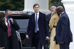 President Donald Trump's White House Senior Adviser Jared Kushner walks to a motorcade vehicle outside the White House, Monday, Oct. 26, 2020, in Washington, before departing with Trump for campaign events in Pennsylvania. (AP Photo/Patrick Semansky)