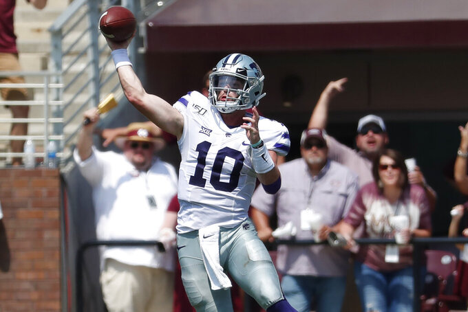 Kansas State quarterback Skylar Thompson (10) passes against Mississippi State during the second half of their NCAA college football game in Starkville, Miss., Saturday, Sept. 14, 2019. Kansas State won 31-24. (AP Photo/Rogelio V. Solis)