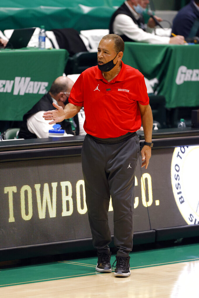 Houston coach Kelvin Sampson reacts to a call during the first half of the team's NCAA college basketball game against Tulane in New Orleans, Thursday, Jan. 28, 2021. Houston won 83-60. (AP Photo/Tyler Kaufman)