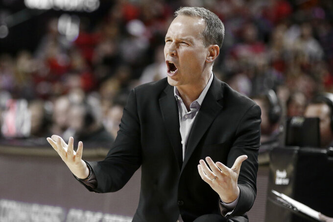 Northwestern coach Chris Collins yells during the first half of an NCAA college basketball game against Nebraska in Lincoln, Neb., Sunday, March 1, 2020. (AP Photo/Nati Harnik)