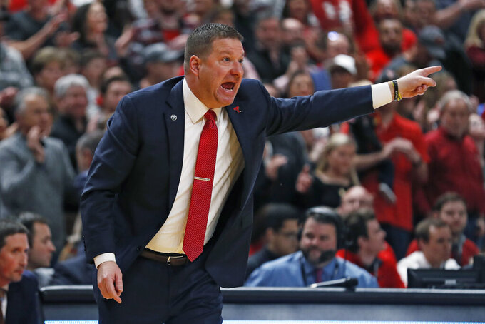 Texas Tech coach Chris Beard yells out to his players during the first half of an NCAA college basketball game against Baylor, Tuesday, Jan. 7, 2020, in Lubbock, Texas. (AP Photo/Brad Tollefson)