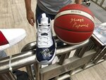 Some of the items signed by U.S. men's basketball coach Gregg Popovich for fans who awaited the team's arrival in Shanghai for the World Cup are seen Thursday, Aug. 29, 2019. (AP Photo/Tim Reynolds)
