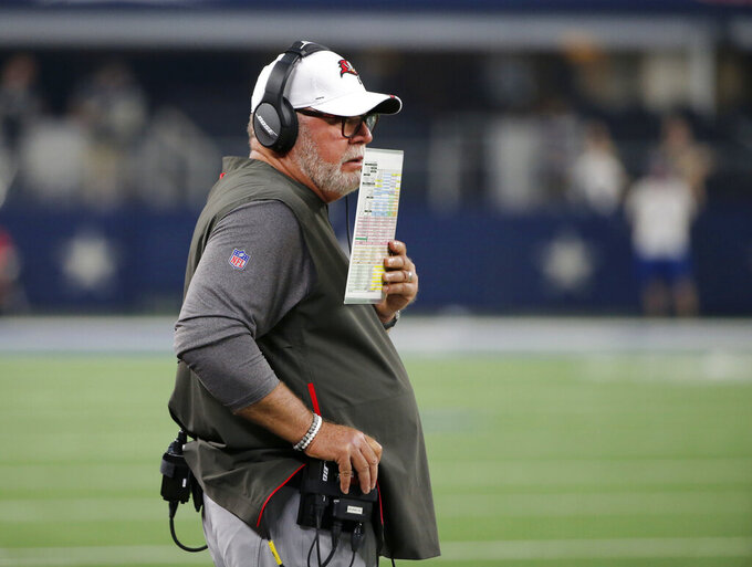 Tampa Bay Buccaneers coach Bruce Arians watches play against the Dallas Cowboys during the first half of a preseason NFL football game in Arlington, Texas, Thursday, Aug. 29, 2019. (AP Photo/Michael Ainsworth)