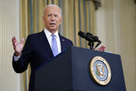 President Joe Biden speaks about the COVID-19 response and vaccinations in the State Dining Room of the White House, Friday, Sept. 24, 2021, in Washington. (AP Photo/Patrick Semansky)
