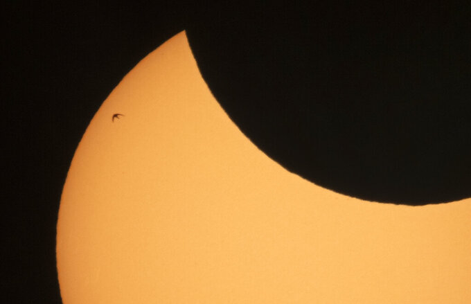 A bird is silhouetted against the sun as the moon blocks part of the sun during a partial solar eclipse in St. Petersburg, Russia, Thursday, June 10, 2021. (AP Photo/Dmitri Lovetsky)