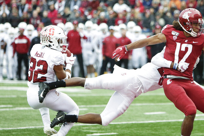 Stanford safety Jonathan McGill (32) intercepts a pass intended for Washington State wide receiver Dezmon Patmon (12) during the first half of an NCAA college football game in Pullman, Wash., Saturday, Nov. 16, 2019. (AP Photo/Young Kwak)