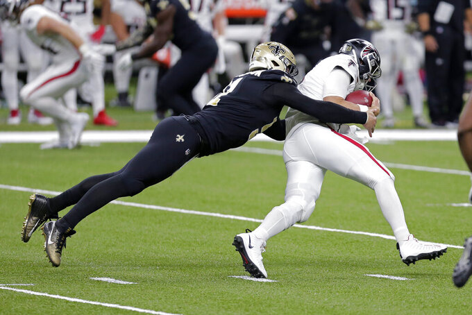 New Orleans Saints defensive end Trey Hendrickson sacks Atlanta Falcons quarterback Matt Ryan in the first half of an NFL football game in New Orleans, Sunday, Nov. 22, 2020. (AP Photo/Brett Duke)
