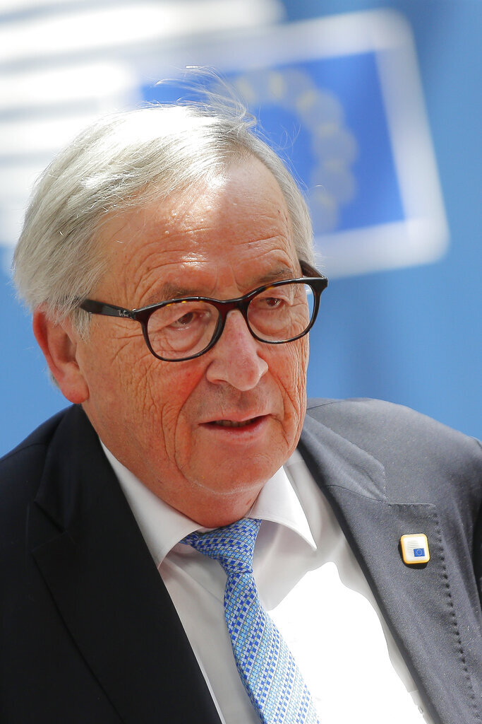 European Commission President Jean-Claude Juncker arrives for an EU summit at the Europa building in Brussels, Thursday, June 20, 2019. European Union leaders meet for a two-day summit to begin the process of finalizing candidates for the bloc's top jobs. (Julien Warnand, Pool Photo via AP)