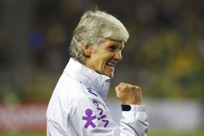 FILE - Brazil coach Pia Sundhage celebrates during a women's friendly soccer match against Argentina in Sao Paulo, Brazil, in this Thursday, Aug. 29, 2019, file photo. Sundhage was named Brazil's coach following the 2019 World Cup. She was coach of the United States from 2008-12, then coach of her native Sweden from 2012-17. Sundhage has a talented, deep Olympic roster with five-time FIFA World Player of the Year Marta, as well as Debinha and forward Ludmila. Also included is Formiga, who is a seemingly forever-young 43 and has played in a women's record six Olympics.(AP Photo/Nelson Antoine, File)