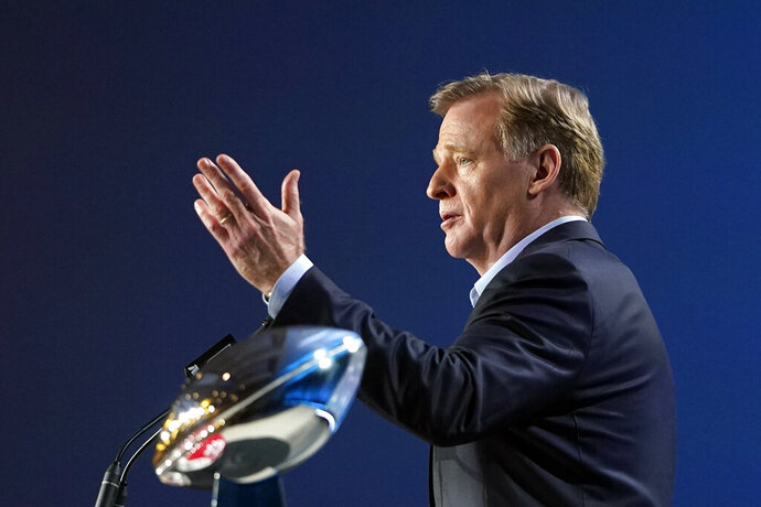 NFL Commissioner Roger Goodell answers a question during a news conference for the NFL Super Bowl 54 football game Wednesday, Jan. 29, 2020, in Miami. (AP Photo/David J. Phillip)