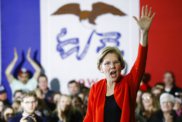 Democratic presidential candidate Sen. Elizabeth Warren, D-Mass., gestures during a campaign event, Sunday, Jan. 26, 2020, in Cedar Rapids, Iowa. (AP Photo/Matt Rourke)