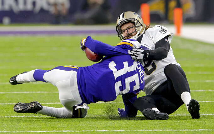 FILE - In this Jan. 14, 2018, file photo, New Orleans Saints punter Thomas Morstead (6) injures his ribs on a touchdown saving tackle of Minnesota Vikings cornerback Marcus Sherels (35) during the first half of an NFC divisional playoff NFL football game in Minneapolis, Minn. Morstead is one of just two current Saints players who played in the NFC title game against the Vikings in January 2010. The other is quarterback Drew Brees. (Matthew Hinton/The Advocate via AP, File)