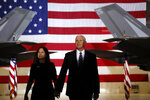 FILE - In this Dec. 20, 2019, file photo, Vice President Mike Pence and Karen Pence arrive before President Donald Trump signs the National Defense Authorization Act for Fiscal Year 2020 at Andrews Air Force Base, Md. (AP Photo/Andrew Harnik, File)