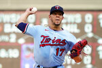 Minnesota Twins pitcher Jose Berrios (17) throws against the Los Angeles Angels during a baseball game, Saturday, July 24, 2021, in Minneapolis. (AP Photo/Jim Mone)