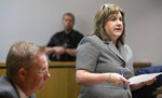 Julie Pillow, assistant district attorney, speaks during the arraignment of Curtis Ray Watson Wednesday, Aug.14, 2019, in Ripley, Tenn. Watson, an inmate at the West Tennessee State Penitentiary, is charged with the murder of 64-year-old correctional administrator Debra Johnson. (Ariel Cobber/The Commercial Appeal via AP, Pool)