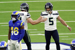 Seattle Seahawks kicker Jason Myers (5) celebrates after making a 61-yard field goal during the second half of an NFL football game against the Los Angeles Rams, Sunday, Nov. 15, 2020, in Inglewood, Calif. (AP Photo/Jae C. Hong)