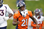 Denver Broncos cornerback Ronald Darby takes part in drills during an NFL football training camp at the team's headquarters Thursday, Aug. 19, 2021, in Englewood, Colo. (AP Photo/David Zalubowski)